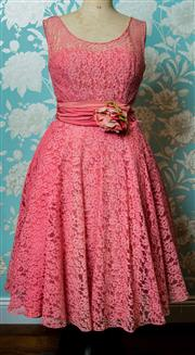 Sale 8420A - Lot 23 - A 1950's pink lace party/prom dress featuring boned bodice, metal zipper at the back, full swing pink lace skirt and sash with handm..