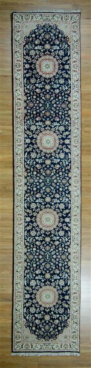 Sale 8657C - Lot 62 - Indo Nain Silk Inlay Runner 400cm x 80cm