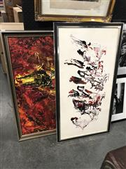 Sale 8819 - Lot 2087 - 2 Works: Artist Unknown - Abstract in Red, Black & White, board & WD Hall - The Bullfight, acrylic on board -