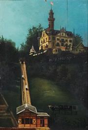 Sale 8867A - Lot 5098 - Artist Uknown - Chateau Gütsch Funicular, Lucerne, Switzerland (c.1885) 31 x 21cm