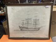 Sale 8981 - Lot 2087 - Peter Longhurst - HMS Bounty, print, signed, 30x37