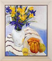 Sale 9055A - Lot 5054 - Val Landa (1940 - ) - A Yellow Mug, Vase of Flowers & Fruit Plate 66 x 55 cm (frame: 80 x 69 x 3 cm)