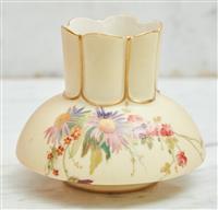 Sale 9090H - Lot 49 - A hand painted Royal Worcester squat form vase. Height 9cm