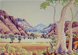 Sale 9093A - Lot 5006 - Walter Ebatarinja (1915 - 1968) - Central Australian Landscape 32.5 x 46 cm (frame: 62 x 76 x 2 cm)