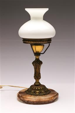 Sale 9104 - Lot 52 - A converted kerosene lamp on marble base (H 33cm)