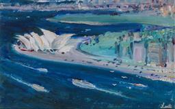 Sale 9191A - Lot 5001 - GERRARD LANTS (1927 - 1988) Passing Sydney Opera House gouache 28 x 25 cm (frame: 51 x 46 x 2 cm ) signed