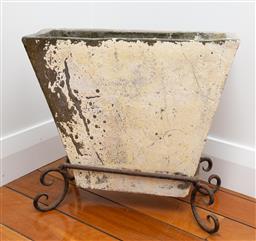 Sale 9191H - Lot 60 - Composite Stone Jardinere on iron base, L 50 x H 47 x D 18 cm