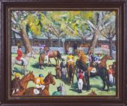 Sale 8339A - Lot 590 - Constance Tempe Manning (1896 - 1960) - The Mounting Enclosure, 1952 40 x 50cm