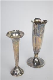 Sale 8396 - Lot 62 - English Hallmarked Trumpet Vase with Another Example -