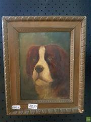 Sale 8627 - Lot 2036 - Artist Unknown (Early C20th) - Portrait of a Dog 28 x 23cm (frame size)