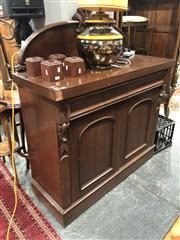 Sale 8795 - Lot 1065 - Late 19th Century Cedar Chiffonier, with carved back, two frieze drawers & two arched panel doors (Decorative panel piece-as well as...