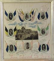 Sale 8994W - Lot 657 - A Framed Silk Souvenir Of Egypt, From Edward To Joyce  (107cm x 50cm)