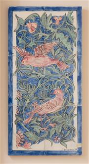Sale 9071H - Lot 15 - Judy Chapman - 6 Tiled Panel in the Arts and crafts Taste 60cm x 30cm