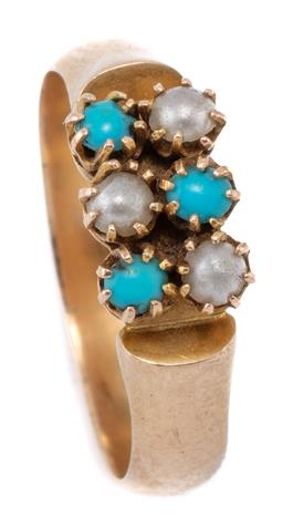 Sale 9083F - Lot 15 - AN ANTIQUE 15CT GOLD STONE SET RING; claw set with turquoise and faux pearls to half round shank with makers mark A&H, size O1/2, to...