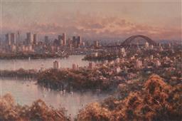 Sale 9125 - Lot 547 - Ramon Ward-Thompson (1941 - ) Autumn Sydney Harbour oil on canvas 59.5 x 90.5 cm (frame: 82 x 114 x 7 cm) signed lower right