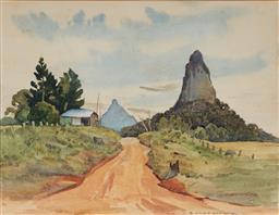 Sale 9125 - Lot 572 - John Eldershaw (1892 - 1973) Untitled (Glass House Mountains) watercolour 35 x 45.5 cm (frame: 60 x 67 x 2 cm) signed lower right