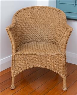 Sale 9191H - Lot 62 - Cane wicker armchair, W 63 x H 75 cm