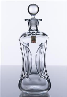 Sale 9245R - Lot 3 - A vintage Danish Holme Gaard lead crystal Glug decanter with original label, Ht: 23cm