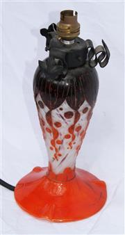 Sale 8319 - Lot 213 - Art deco Charles Schneider lamp base, orange and ochre