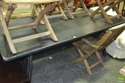 Sale 8337 - Lot 1080 - MDF Top Dining Table on Stretcher Base (H 77 x L 200 x W 100cm)