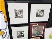 Sale 8449 - Lot 2012 - Norman Lindsay Prints (3 works) - Various Scenes frame size: 45.5 x 41cm, each