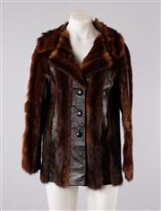 Sale 8740F - Lot 73 - A Russian sable fur and leather panelled jacket, approx size 10