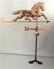 Sale 8706A - Lot 53 - A copper horse weathervane of good quality, with adjustable roof mount, H 116 x W 98cm
