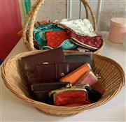 Sale 8510A - Lot 91 - A quantity of coin purses in cane basket, together with leather purses including Etienne Aigner