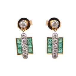 Sale 8858H - Lot 80 - 18ct yellow gold emerald and diamond earrings; with 12 diamonds totalling 0.48cts set in white gold surrounded by 0.87cts of emeralds