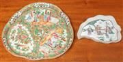 Sale 8976H - Lot 41 - A Chinese republic famille rose triangular dish and an artemisia leaf dish with fuk, suk and lao largest 27cm