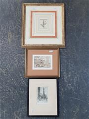 Sale 9041 - Lot 2068 - A good Group of (3) Early Prints incl. James Swann Chicago Landmark, Winterscene of Bridge byb Rutmaster and Antique Print from Benj...