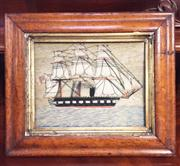 Sale 8319 - Lot 214 - A picture made out of wool dating from the 1840s of a British ship of the line
