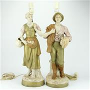 Sale 8342 - Lot 100 - Royal Dux Pair of Figural Bedside Lamps