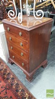 Sale 8352 - Lot 1030 - Mahogany Inlaid Four Drawer Chest on Bracket Feet