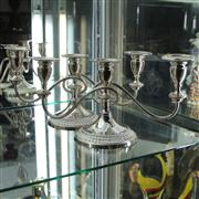 Sale 8379 - Lot 34 - Silver Plated Pair of Candelabra