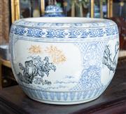 Sale 8746 - Lot 1034 - A Japanese blue underglaze jardiniere with cranes and birds