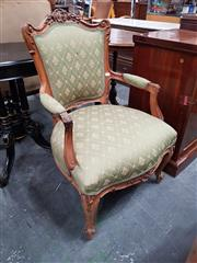 Sale 8814 - Lot 1008 - Louis XVI Style Carved Walnut Armchair, in green diaper fabric with fleur-de-lys