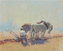 Sale 9099A - Lot 5067 - Dixon Copes (1914 - 2002) - Clydesdale Horses Ploughing 19.5 x 24.5 cm (frame: 29 x 34 x 3 cm)