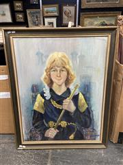 Sale 9045 - Lot 2047 - Joan Dent, The Prince of the Tower, oil on canvas laid on board, frame: 101 x 81 cm, signed lower right