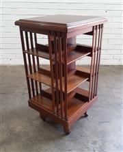 Sale 9085 - Lot 1016 - Late Victorian Oak Revolving Bookcase, of three tiers (h:94 x w:49 x d:49cm)