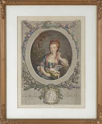 Sale 9080H - Lot 81 - A hand coloured 18th century  French Engraving,  par L M Halbou depicting a young lady holding the golden goose. 55 x 45cm