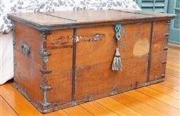 Sale 9191H - Lot 65 - Rustic Metal bound timber blanket box, L 115 x D 55 x H 55 cm
