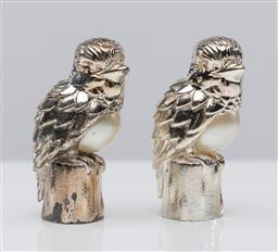 Sale 9255H - Lot 27 - A pair of Christofle silver-plated kookaburra form table weights with faux pearl insert, Height 5.5cm, each RRP $150, some tarnish.