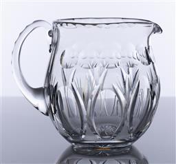 Sale 9245R - Lot 5 - A quality vintage heavy hand cut lead crystal large jug, C: 1940s, Ht: 15cm
