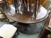 Sale 8472 - Lot 1071 - Timber Oval Supper Table with Glass Top on Single Pedestal Base