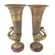 Sale 8562R - Lot 97 - Pair of Antique Bronzed Urns with Swan Motifs on Rouge Marble Bases (H: 29cm)
