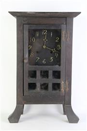 Sale 8894 - Lot 380 - Timber Cottage Clock with Glass Panels (H49cm), no key