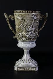 Sale 8968 - Lot 92 - Capodimonte twin handled vase (H34cm)