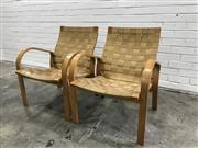 Sale 9056 - Lot 1074 - Pair of Alvar Aalto Lounge Chairs with Webbed Upholstery (h:77 x w:72 x d:50cm)