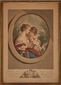 Sale 9080H - Lot 90 - A hand coloured French engraving after Boucher, engraved by Miger depicting cupid embracing a maiden.45.5 x 33.5cm